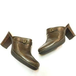 Rockport Brown Leather Mule Heels
